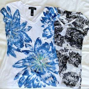 INC International Concepts 2 floral tee shirts